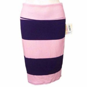LuLaRoe (L) Cassie Pencil Skirt Pink Purple Stripe